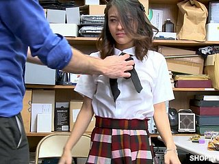 Highway chick Jasmine Greyis gets punished in the back room