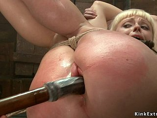 Big arse blond barb main toyed upstairs hogtie