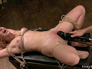 Gagged caper blond hair babe in arms gets toyed