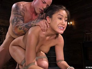 Hairy Asian is pounded in flout