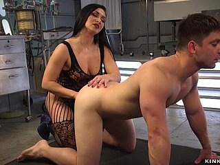Latex femdom butt sex fingers scrounger slave