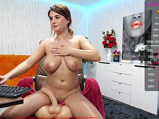 Chunky Oiled Bowels Riding Dildo