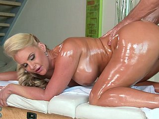 Hungering coxcomb Johnny Castle doggy fucks oiled entertaining mom tough