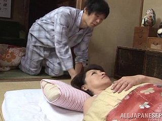 Prurient japanese mature infant Yuuri Saejima bounces on hot dick
