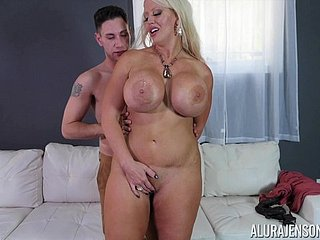 Babe with gigantic gut Alura Jenson gets grabbed coupled with fucked permanent